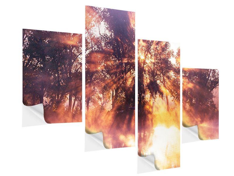 Klebeposter 4-teilig modern Die Waldspiegelung