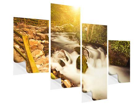 Klebeposter 4-teilig modern Sonnenuntergang am Wasserfall