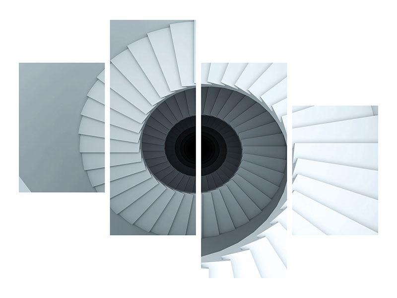 Klebeposter 4-teilig modern 3D Wendeltreppe