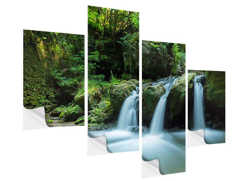 Klebeposter 4-teilig modern Fallendes Wasser