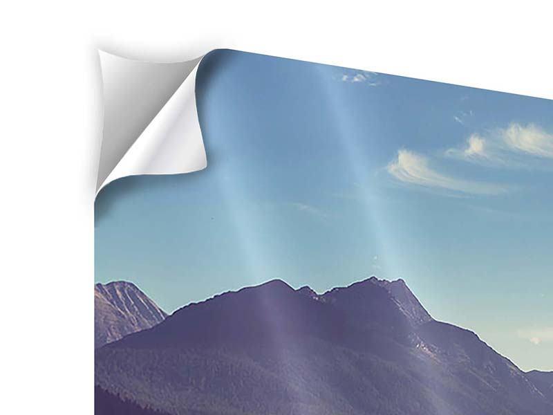 Klebeposter 4-teilig modern Bergspiegelung