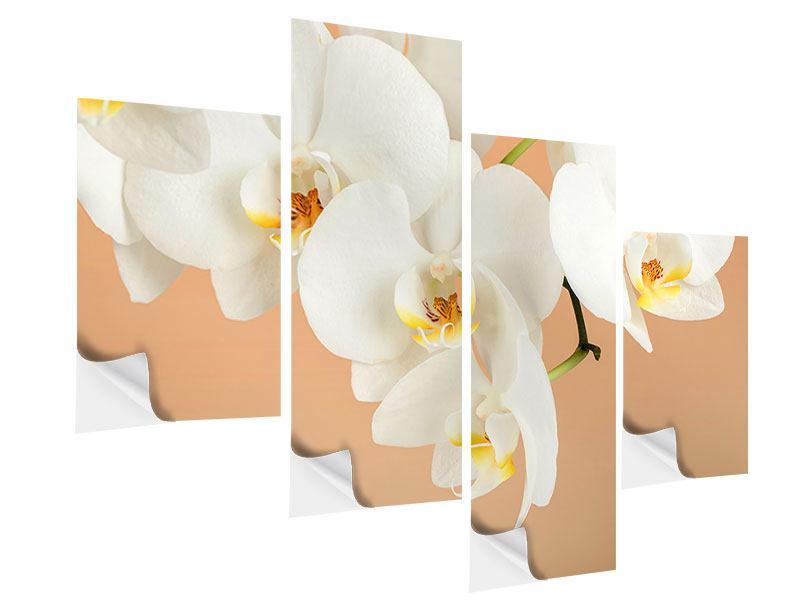 Klebeposter 4-teilig modern Weisse Orchideenblüten