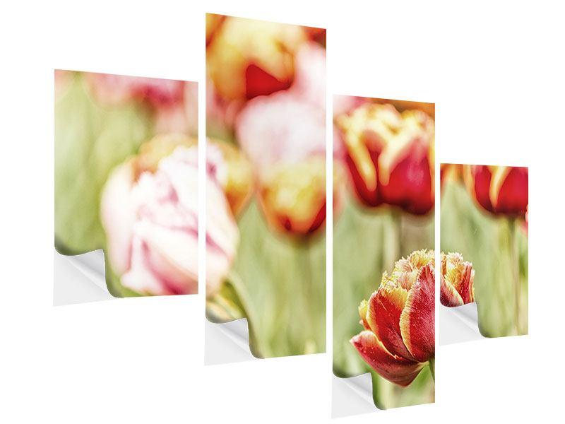 Klebeposter 4-teilig modern Die Schönheit der Tulpe