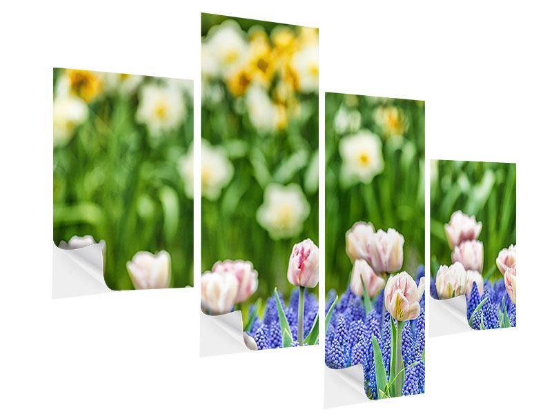 Klebeposter 4-teilig modern Ein Garten mit Tulpen