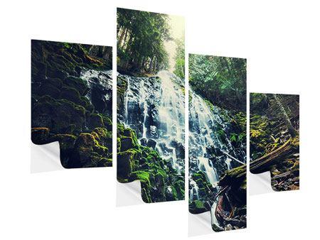 Klebeposter 4-teilig modern Feng Shui & Wasserfall