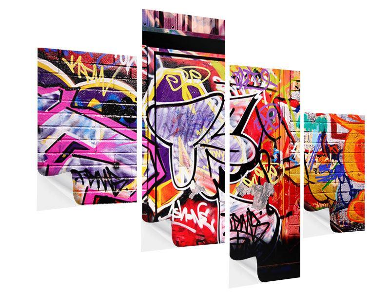 Klebeposter 4-teilig modern Graffiti Kunst