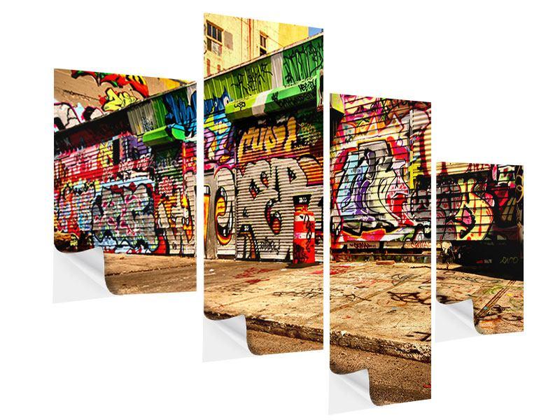 Klebeposter 4-teilig modern NY Graffiti