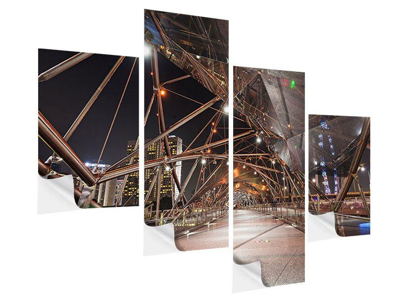 Klebeposter 4-teilig modern Brückenlichter