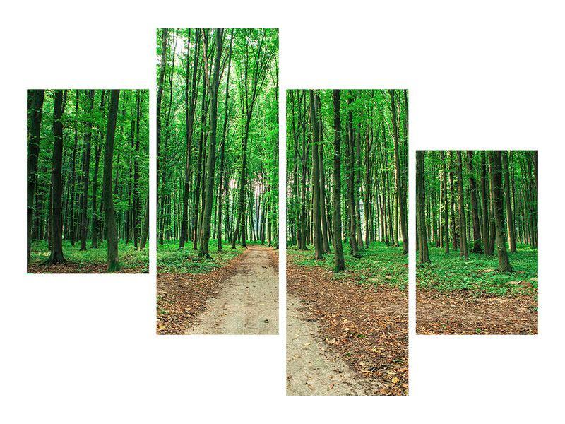 Klebeposter 4-teilig modern Tannenwald
