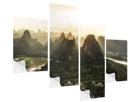 Klebeposter 4-teilig modern Die Berge von Xingping