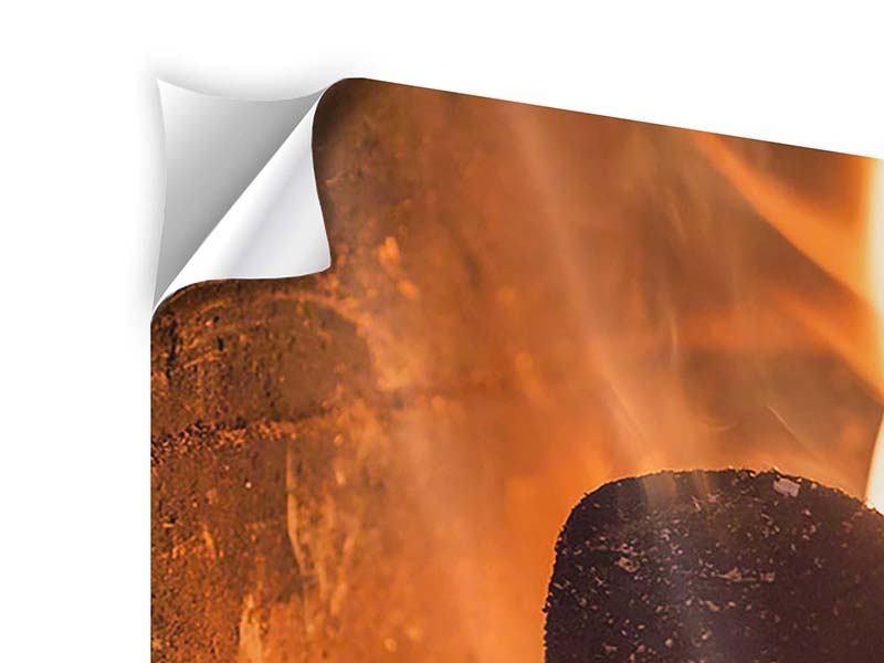 Klebeposter 4-teilig modern Kaminfeuer