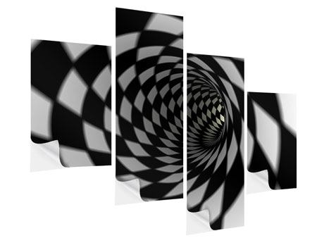 Klebeposter 4-teilig modern Abstrakter Tunnel Black & White