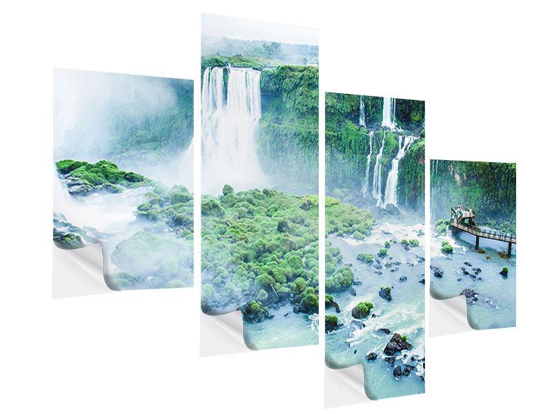 Klebeposter 4-teilig modern Wasserfälle