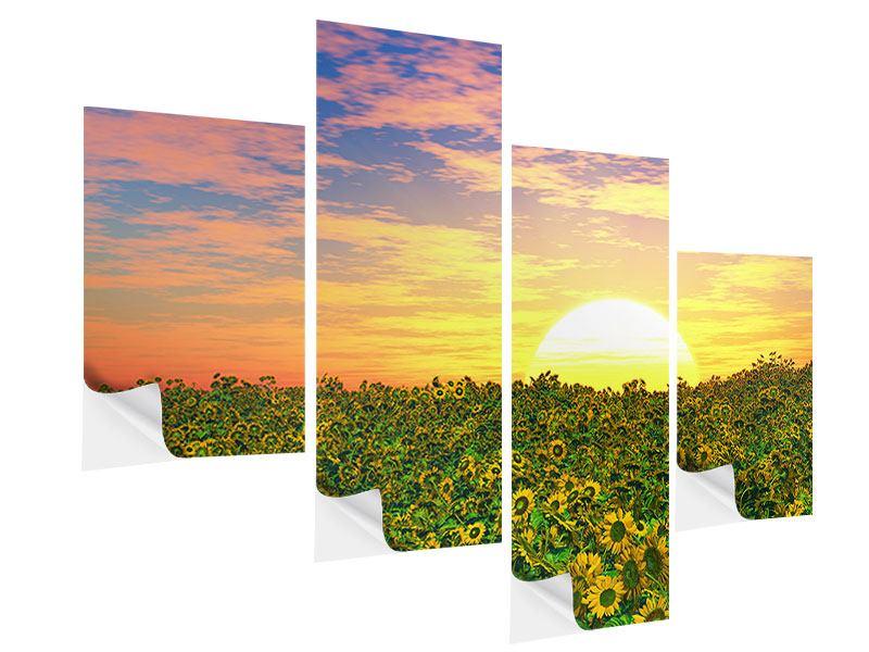 Klebeposter 4-teilig modern Blumenpanorama bei Sonnenuntergang