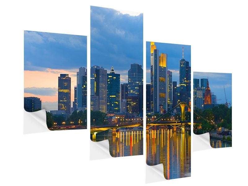 Klebeposter 4-teilig modern Skyline Frankfurt am Main