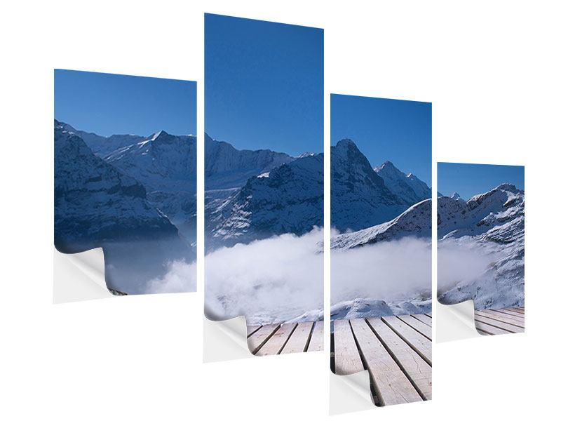 Klebeposter 4-teilig modern Sonnenterrasse in den Schweizer Alpen
