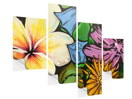 Klebeposter 4-teilig modern Graffiti Flowers
