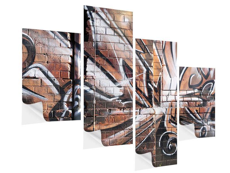 Klebeposter 4-teilig modern Graffiti Mauer