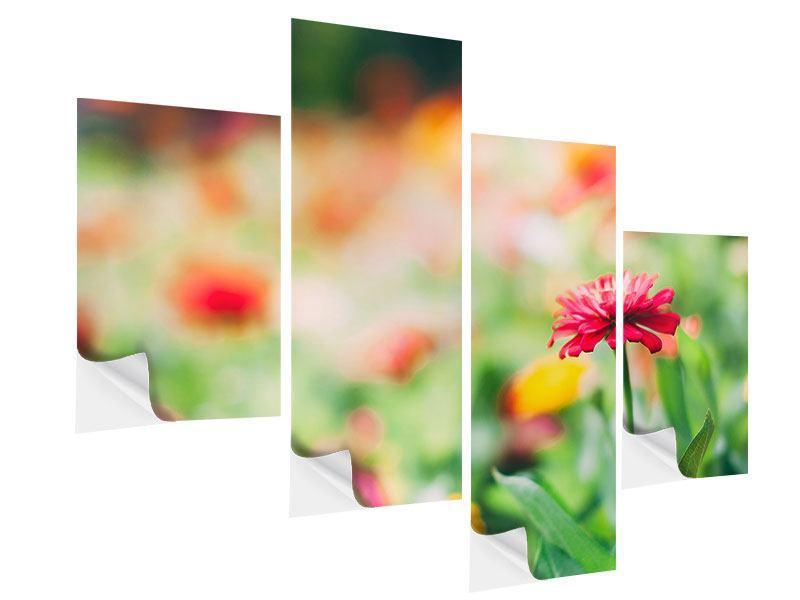 Klebeposter 4-teilig modern Im Blumengarten