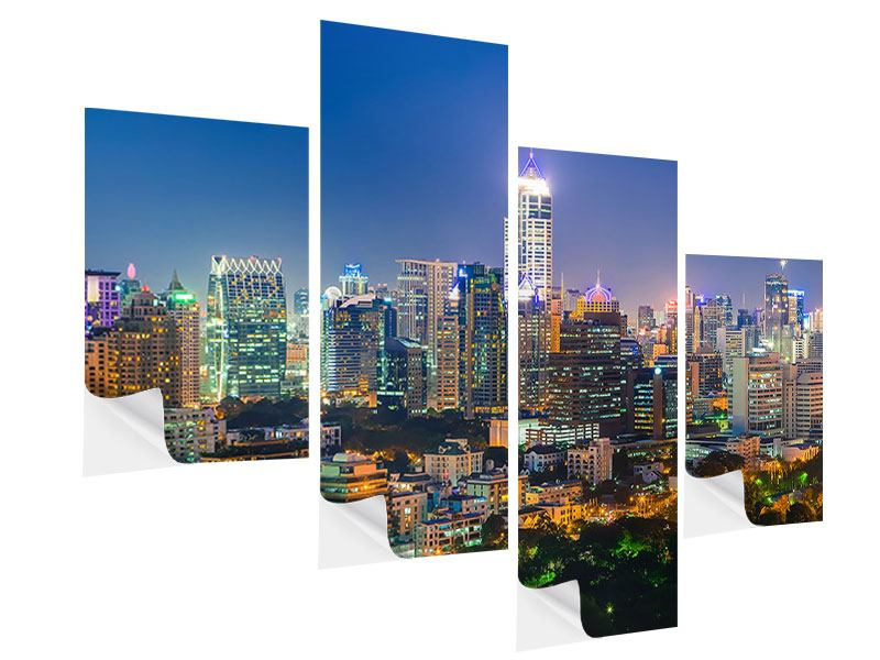Klebeposter 4-teilig modern Skyline One Night in Bangkok