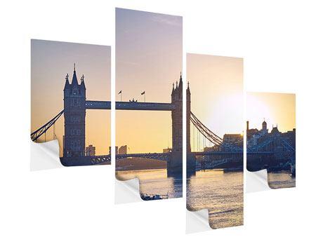 Klebeposter 4-teilig modern Tower Bridge bei Sonnenuntergang
