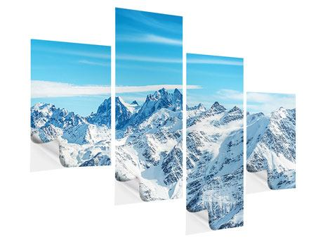 Klebeposter 4-teilig modern Alpenpanorama