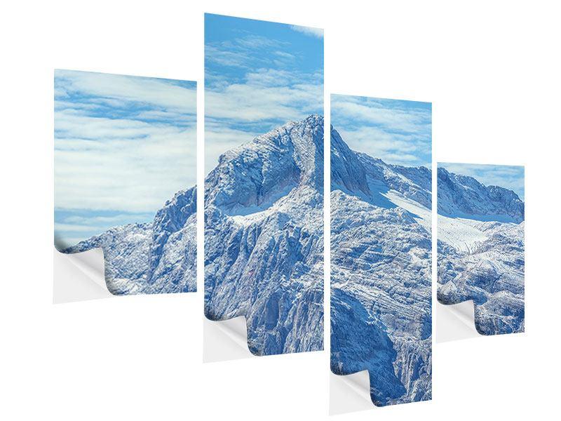 Klebeposter 4-teilig modern Friedliche Bergstimmung