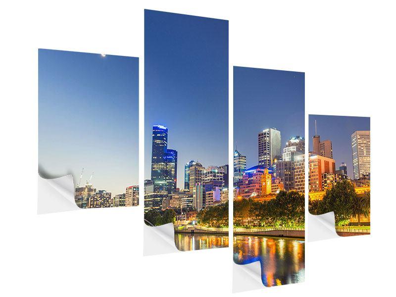 Klebeposter 4-teilig modern Skyline Sydney in der Abenddämmerung