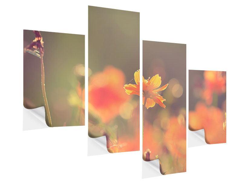 Klebeposter 4-teilig modern Blütenpracht