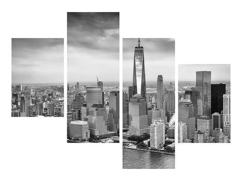 Klebeposter 4-teilig modern Skyline Schwarzweissfotografie New York