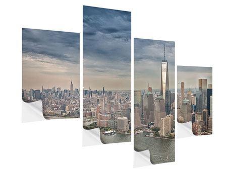 Klebeposter 4-teilig modern Skyline Manhattan