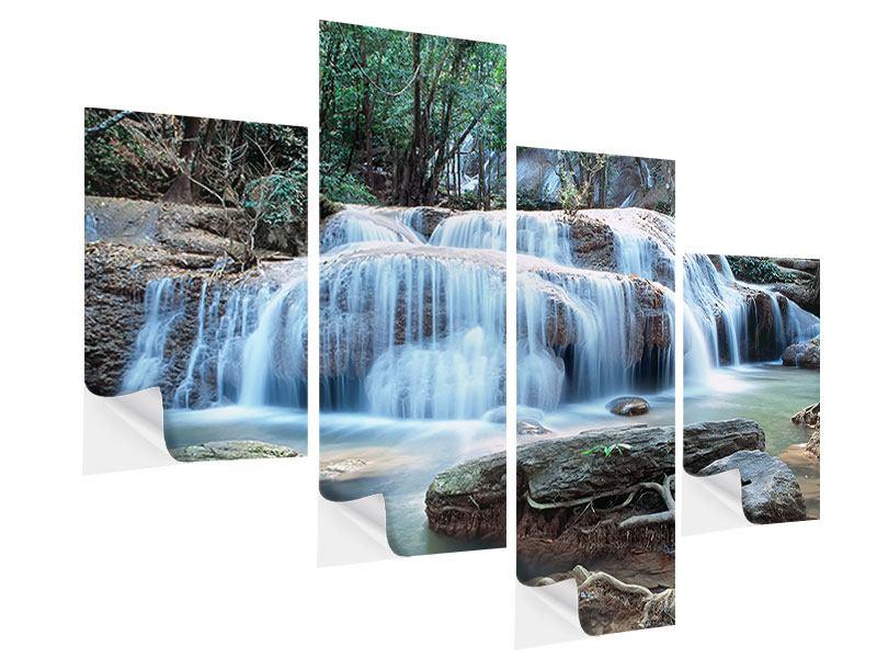 Klebeposter 4-teilig modern Ein Wasserfall