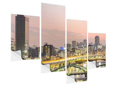 Klebeposter 4-teilig modern Skyline Das Lichtermeer von Tokio