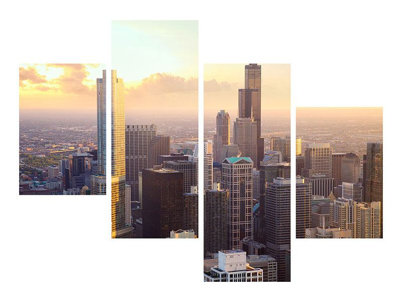 Klebeposter 4-teilig modern Skyline Chicago