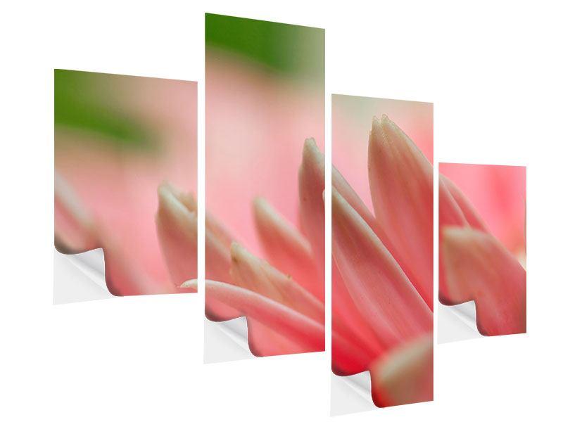 Klebeposter 4-teilig modern Close Up einer Blüte