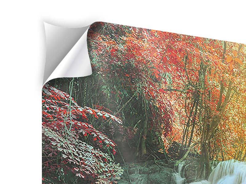 Klebeposter 4-teilig modern Wasserfall im Licht