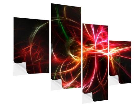 Klebeposter 4-teilig modern Fraktales Lichtspektakel