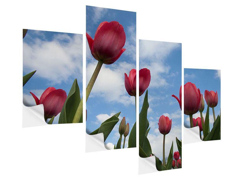 Klebeposter 4-teilig modern Tulpen im Himmel