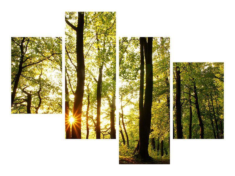 Klebeposter 4-teilig modern Sonnenuntergang zwischen den Bäumen