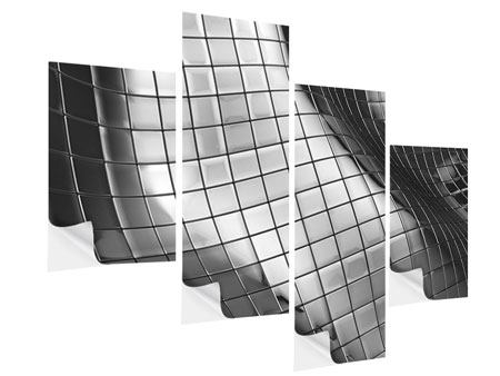 Klebeposter 4-teilig modern Abstrakter Stahl
