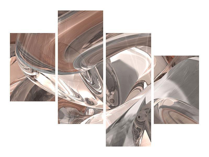 Klebeposter 4-teilig modern Abstraktes Glasfliessen