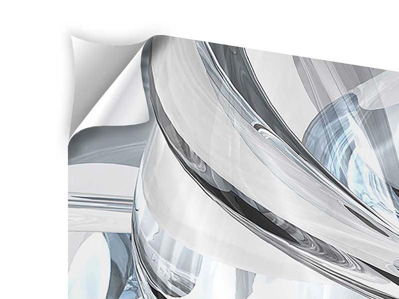 Klebeposter 4-teilig modern Abstrakte Glasbahnen