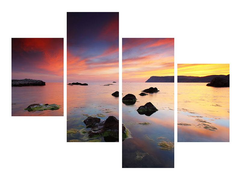 Klebeposter 4-teilig modern Ein Sonnenuntergang am Meer