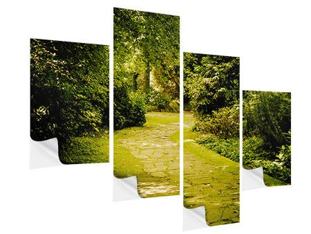 Modern 4 Piece Self-Adhesive Poster Moss-Covered Path
