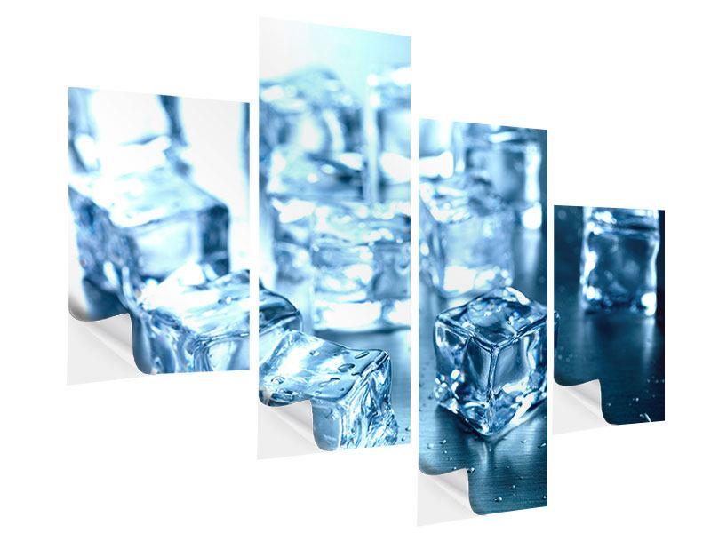 Klebeposter 4-teilig modern Viele Eiswürfel