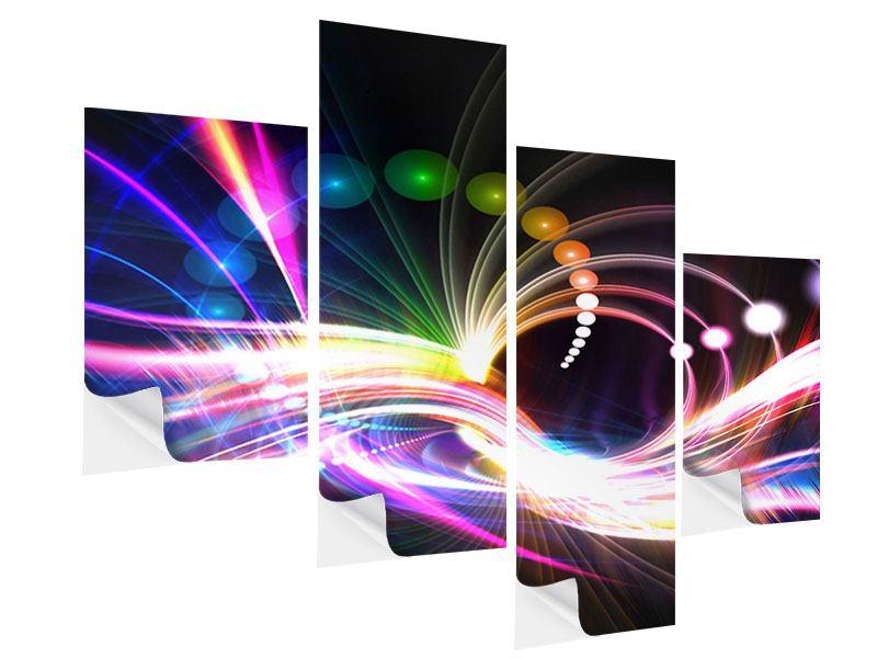 Klebeposter 4-teilig modern Abstrakte Lichtreflexe