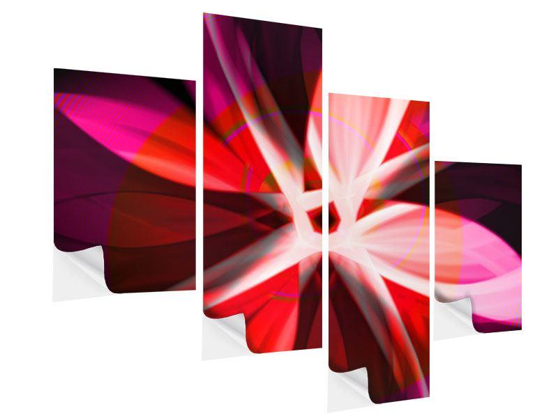 Klebeposter 4-teilig modern Abstrakt Flower Power