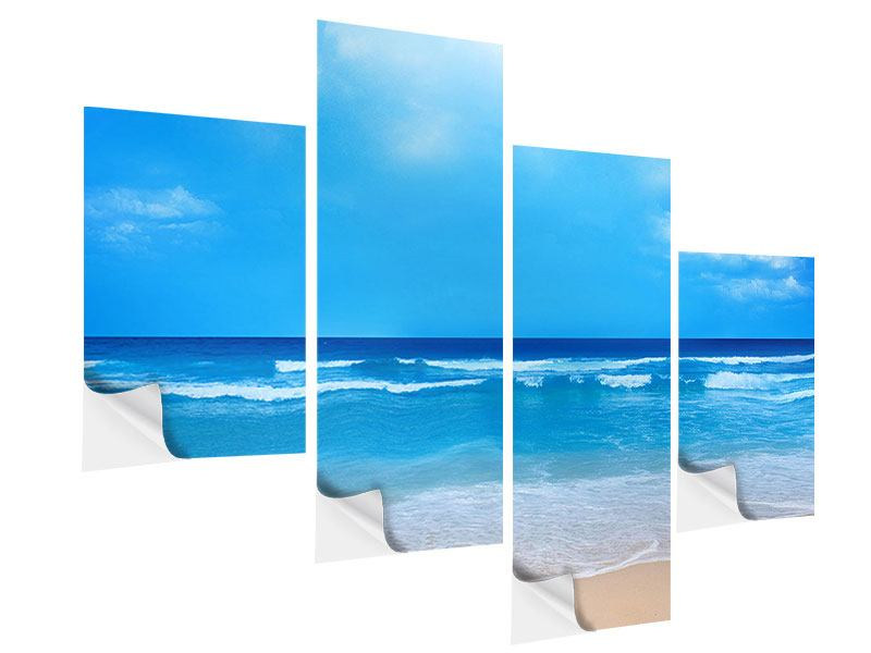 Modern 4 Piece Self-Adhesive Poster Gentle Beach Waves