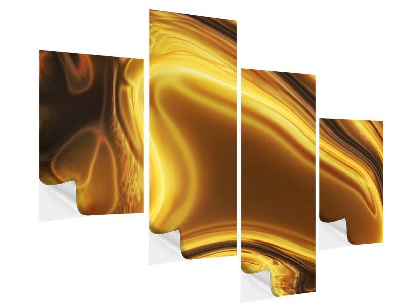 Klebeposter 4-teilig modern Abstrakt Flüssiges Gold