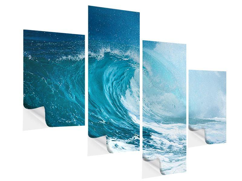 Klebeposter 4-teilig modern Die perfekte Welle